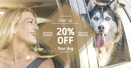 Woman in Car with Cute Dog Facebook AD Modelo de Design