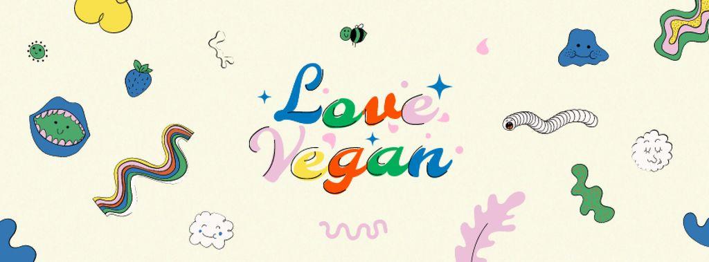 Plantilla de diseño de Vegan Lifestyle Concept with bright pattern Facebook cover
