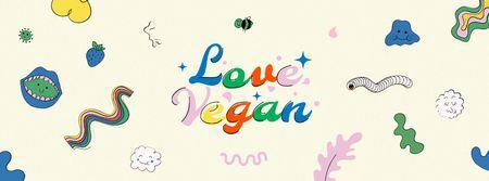 Modèle de visuel Vegan Lifestyle Concept with bright pattern - Facebook cover