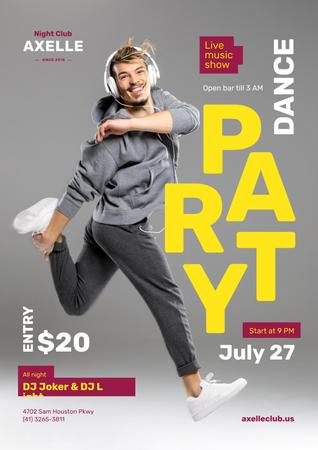 Ontwerpsjabloon van Poster van Party Invitation with Man in Headphones Jumping in Grey