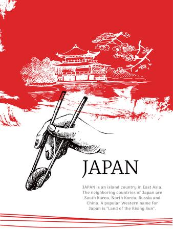Plantilla de diseño de Japanese pagoda and sushi in red Poster US