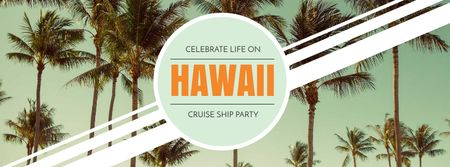 Hawaii Trip Offer with Palm Trees Facebook cover – шаблон для дизайну