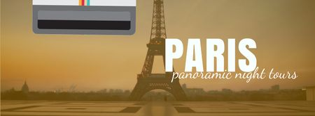 Tour Invitation with Paris Eiffel Tower Facebook Video coverデザインテンプレート