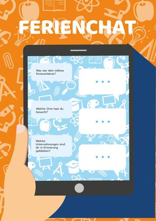 Plantilla de diseño de Holiday Chat on Tablet Screen Poster