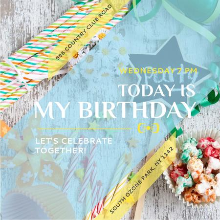 Birthday Party Invitation Bows and Ribbons Instagram AD – шаблон для дизайну