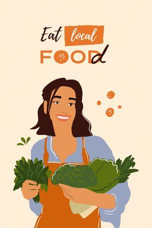 Vegan Lifestyle Concept with Woman holding Vegetables Tumblr tervezősablon