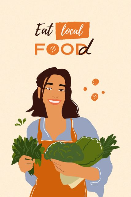 Szablon projektu Vegan Lifestyle Concept with Woman holding Vegetables Tumblr