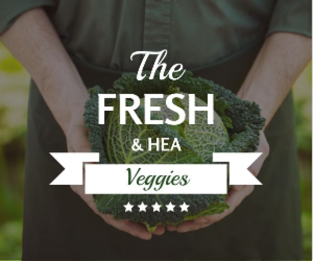 Plantilla de diseño de Healthy Food Farmer Holding Green Cabbage Medium Rectangle