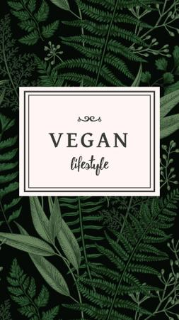 Vegan Lifestyle Concept with Green Leaves Instagram Story – шаблон для дизайна