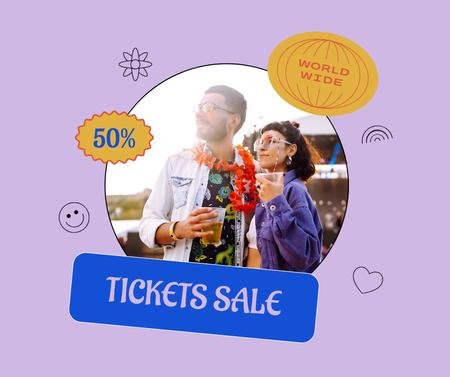 Summer Festival Tickets Sale with Stylish Young People Facebook Design Template