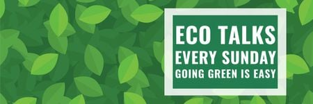 Plantilla de diseño de Ecological Event Announcement Green Leaves Texture Twitter