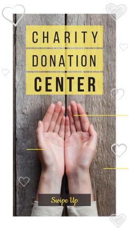 Plantilla de diseño de Charity Donation Ad with Open Palms Instagram Story