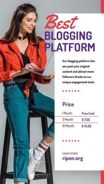 Blogging Platform Offer Woman Typing on Laptop Instagram Story Modelo de Design