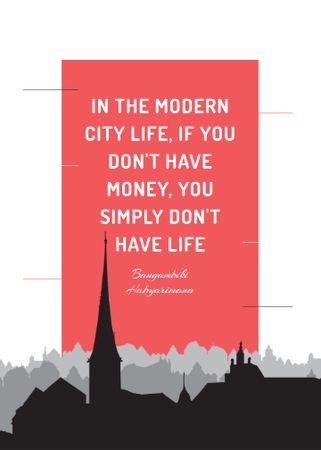 Modèle de visuel City Lifestyle quote on Buildings silhouettes - Flayer
