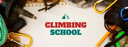 Modèle de visuel Climbing School Offer with Equipment - Facebook cover