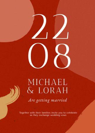 Wedding Day Announcement on Red Abstract Pattern Invitation – шаблон для дизайну