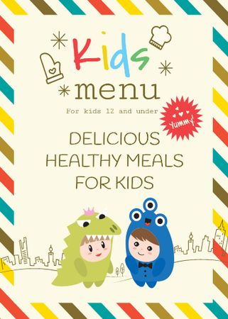 Ontwerpsjabloon van Invitation van Kids menu offer with Children in costumes