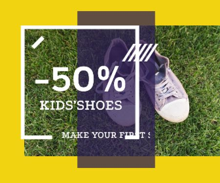 Template di design Kids' Shoes Sale Sneakers on Grass Large Rectangle