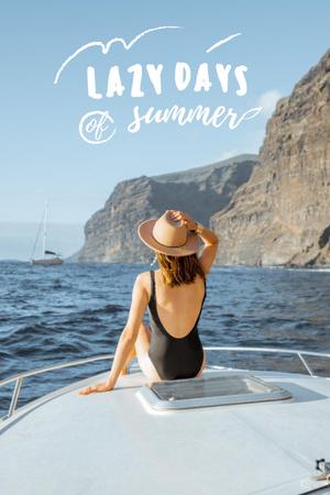 Modèle de visuel Summer Inspiration with Girl in Flower Field - Pinterest