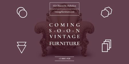 Coming soon vintage furniture shop Image Modelo de Design