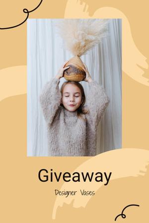 Ontwerpsjabloon van Pinterest van Vases Giveaway announcement with funny Girl