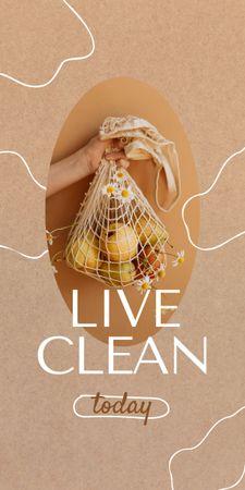 Modèle de visuel Woman holding Apples in Eco Bag - Graphic