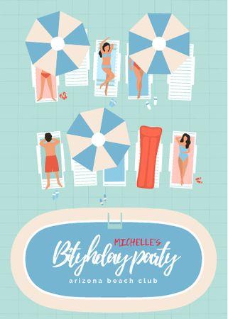 Birthday Party Announcement with Sunbathing People Invitation – шаблон для дизайну