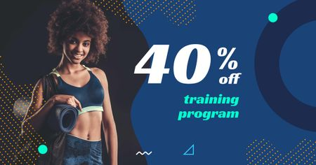 Fitness Coaching Offer with Athlete Woman Facebook AD Design Template