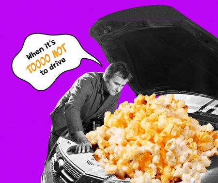 Ontwerpsjabloon van Facebook van Funny Illustration of Popcorn in Car Bumper