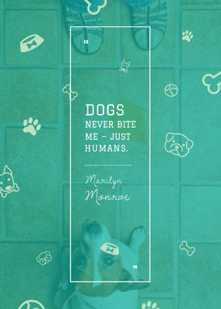 Dogs Quote with cute Puppy Flayer Design Template