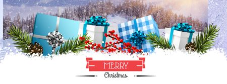 Plantilla de diseño de Christmas Greeting with Festive Gifts Facebook cover