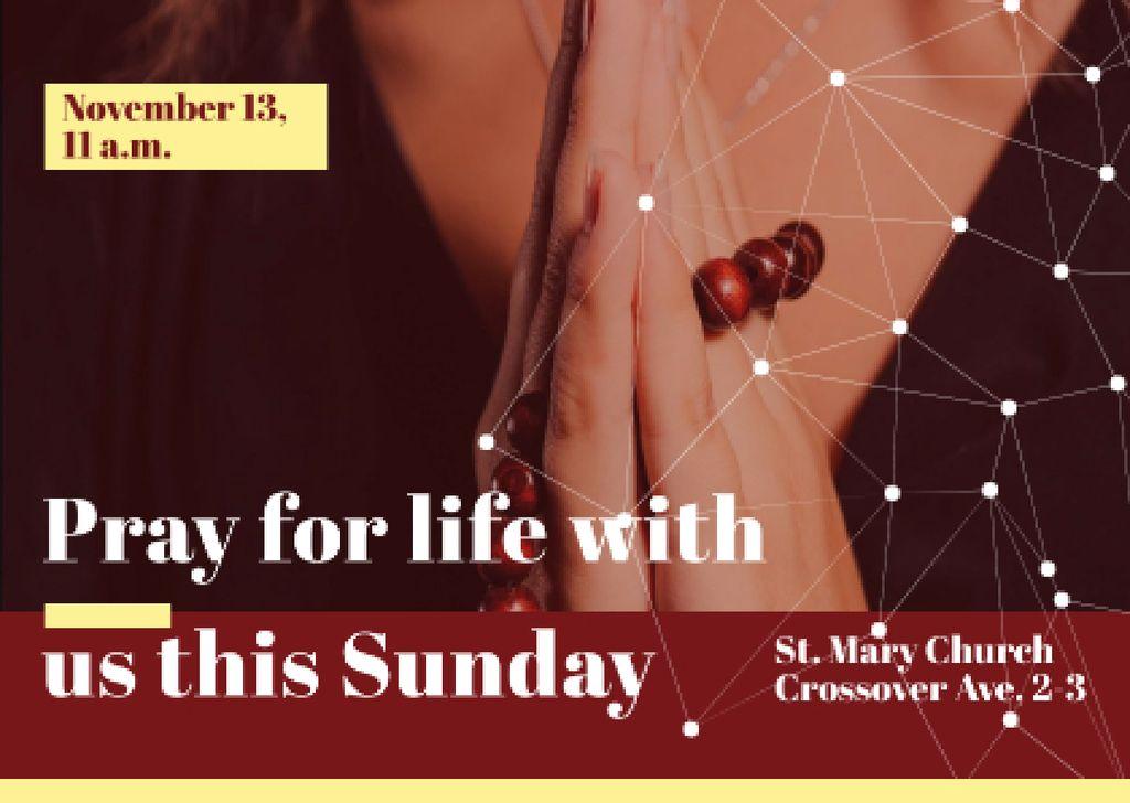 Plantilla de diseño de St. Mary Church with Prayer Card
