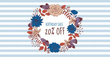 Birthday Sale Offer in Floral Wreath
