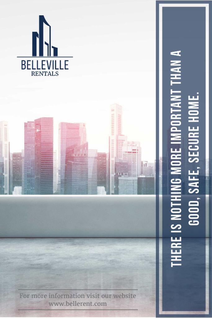 Real Estate Advertisement Modern City Skyscrapers Tumblr Design Template