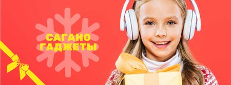 Christmas Offer Girl in Headphones with Gift Facebook cover – шаблон для дизайна