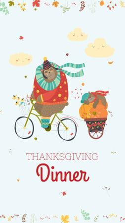 Ontwerpsjabloon van Instagram Story van Thanksgiving Dinner Invitation with Cute Animals