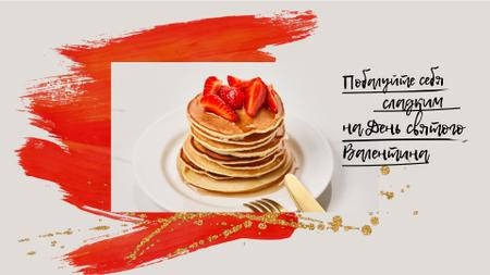 Valentine's Day Offer with Pancakes and Strawberries Full HD video – шаблон для дизайна