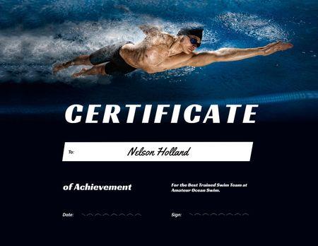 Swimming Sport Achievement Award Certificate Design Template