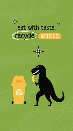 Eco Concept with Cute Dinosaur Sorting Trash Instagram Video Story Design Template