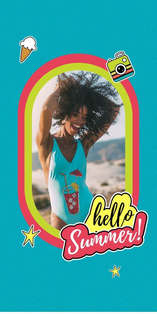 Plantilla de diseño de Summer Inspiration with Happy Girl on Beach Graphic