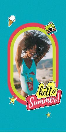 Summer Inspiration with Happy Girl on Beach Graphic – шаблон для дизайну