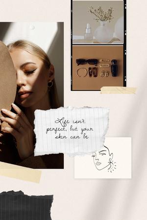 Ontwerpsjabloon van Pinterest van Skincare Ad with Beautiful Young Woman