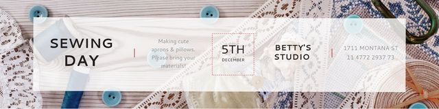 Template di design Sewing day event Announcement Twitter