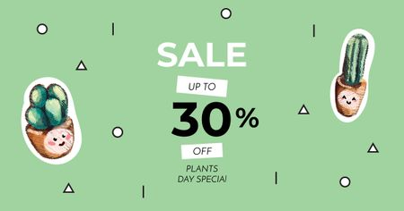 Plants Day Offer with Succulents Facebook ADデザインテンプレート