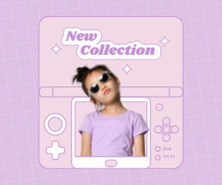 Modèle de visuel New Kids Fashion Collection Announcement with Stylish Little Girl - Medium Rectangle