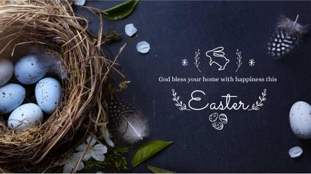Easter Greeting with nest and eggs Full HD videoデザインテンプレート