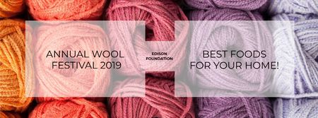 Knitting Festival Invitation with Wool Yarn Skeins Facebook coverデザインテンプレート