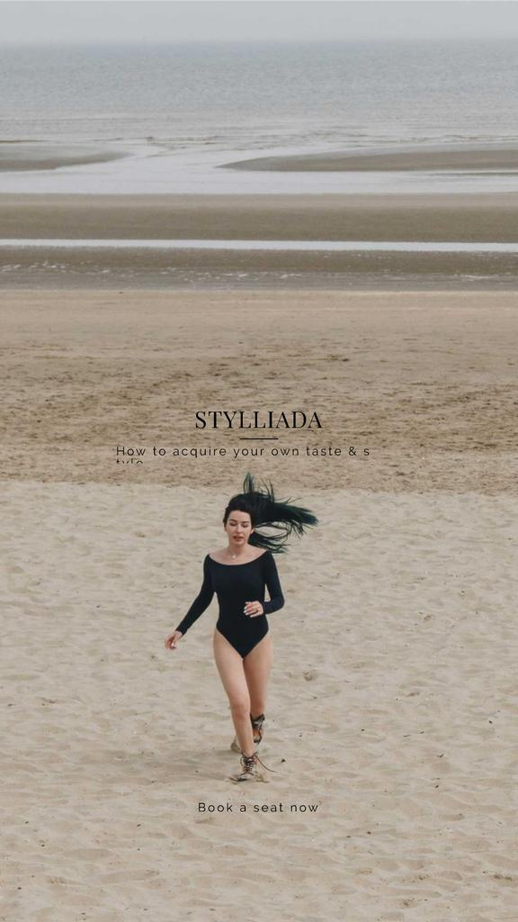 Fashion Shop Offer with Woman running on the beach —デザインを作成する