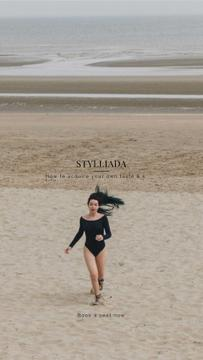 Fashion Shop Offer with Woman running on the beach