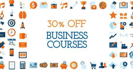 Plantilla de diseño de Business Courses Discount Offer with Financial Icons Facebook AD